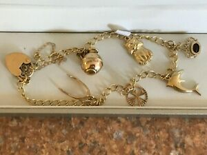 Vintage 9ct Solid Gold Charm Bracelet with Charms,Heart Padlock,Fully Hallmarked