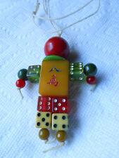 Vintage Bakelite Mah Jongg Tile Dice Bead Person Man Woman Necklace