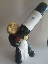 Wine Bottle Holder Tabletop Fat French Chef Theme Home Kitchen Figurine Decor