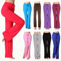 Ladies Women Loose Pants Tapered Tie Belt Elastic Waist Stretch Yoga Trousers