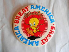 Vintage 1975 Great America Amusement Park Tweety Bird Souvenir Pinback Button