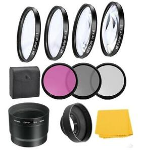 Macro Close-up Filter Kit & UV-CPL-FLD Filters For Canon PowerShot G12 G11 G10