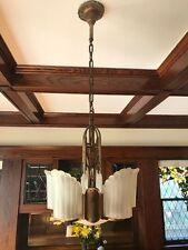 Art Deco 5 Light Slip Shade Chandelier, 1930's Antique, pristine condition