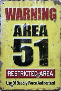 WARNING AREA 51 Garage Rustic Vintage Metal Tin Sign Man Cave,Garage,Shed Bar