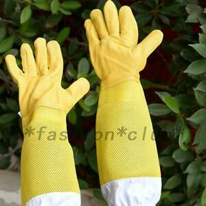 1 Pair Elbow Length Faux Leather Beekeeping Work Gloves Beekeeper Garden Durable