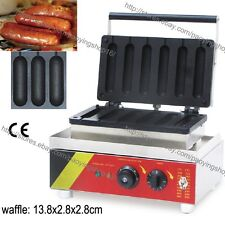 Commercial Nonstick Electric 6pcs French HotDogs Waffle Machine Baker Iron Maker