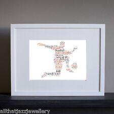 Personalised Word Art Print football birthday sport men gift keepsake card