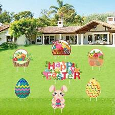 7 Pcs Assorted Easter Yard Signs Decorations Garden Stakes Bunny.