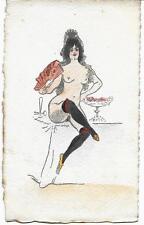 Curiosa : Femme Espagnole nue Coiffe & éventail traditionnels coloriée pochoir