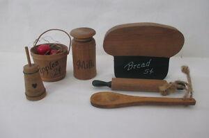 Dollhouse Mini Multi Items Wood Butter Churn Apple Barrel Milk Can Rolling pin