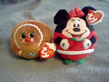BRAND NEW TY BEANIE BALLZ GINGER BREAD GIRL AND MINNIE MOUSE