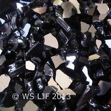 "40 LBS 1/4"" Black Reflective Fireglass Fire Pit Rocks Fireplace Glass Crystals"