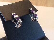 Amethyst,diamonds,sterling Silver  Huggies, Earrings,hoops