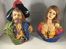 Pirate Buccaneer & Maiden Wench Busts Holland Mold Hand Painted 11-12""