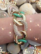Mint Rhinestone Gold Linked Chunky Fashion Chain Bracelet New Jewelry Toggle
