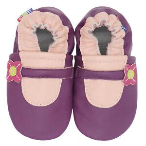 carozoo mary jane purple 0-6m soft sole leather baby shoes