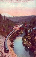 SACRAMENTO RIVER AND MT. SHASTA FROM CASTELLA, CA SOUTHERN PACIFIC RAILROAD