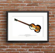 Paul McCartney's 1963 Hofner 500/1 Violin Bass ART POSTER A2 size