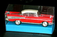 DINKY 1957 CEEVROLET BELL AIR RED WHITE TOP + CLEAR MODEL DISPLAY BOX (LOT 1)