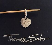 Thomas Sabo charm: 'love' silver heart with cubic zirconia stone, hallmarked
