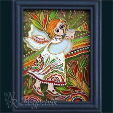 Ukrainian Folk traditional Painting on glass Hand made Framed Wall decor 11x14cm