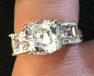 Sterling Silver Ring CZ Cushion Princess 3 Stone Rhodium Pl 925 Sz 4.75 4g #890