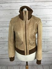 Women's Warehouse Leather Jacket - XS UK8 - Beige - Great Condition
