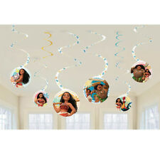 MOANA HANGING SWIRL DECORATIONS (8) ~ Birthday Party Supplies Hanging Cutouts