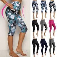 Women's Capri YOGA Pants Pockets Gym Sports Fitness Cropped Leggings Workout G18