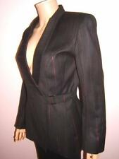 MUGLER 6 Sexy Red Pinstripes Black Wool Womens Silver Buckle Jacket Blazer