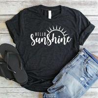 Women's Hello Sunshine Sun Tee Short Sleeve Top Funny Casual Blouse T-Shirt
