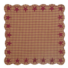 "Country Primitive Burgundy Star Table Topper Cloth Cover 40"" Rustic Farmhouse"