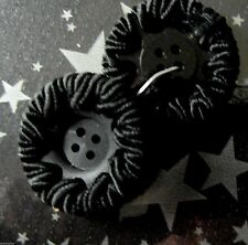 ancien1 bouton passemeterie NOIR ☺buttons black