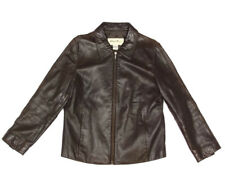 EDDIE BAUER Brown Lambskin Leather Zip Front Moto Buttery Soft Jacket size Small