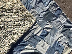 Vintage Comforter Denim Patched Quilt Blanket Quilt Patchwork Levi's Pockets