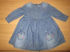 Mothercare Girls Denim Long Sleeve Dress - 3-6 Months
