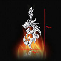 Stainless Steel fanshion Silver Dragon Pendant Men Necklace With Leather Chain