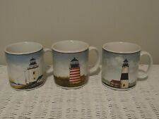 David Carter Brown Set of 3 By The Sea Lighthouse Mugs Sakura Coffee Cups