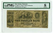 1840s-51 $1 New Jersey, Paterson People's Bank of Paterson Obsolete Note VG8 PMG
