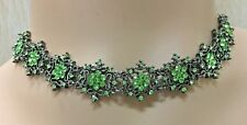 Vintage choker necklace and earrings set with green colour rhinestones