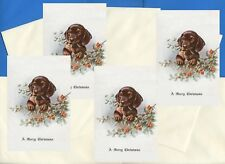 DACHSHUND PUP AND HOLLY PACK OF 4 CARDS DOG PRINT GREETING CHRISTMAS CARDS