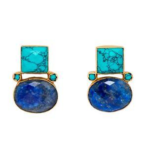 Brand New Handmade VintageLook Turquoise & Lapis Lazuli 18k Gold Plated Earrings