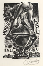 Frank Ivo van DAMME Erotic Nude Top of the World Exlibris X2 Wood Engraving #302
