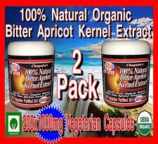 200 Vegetarian 1000mg Organic Apricot Kernel Extract Veggie Capsules Vitamin B17