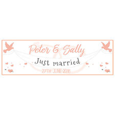 2 PERSONALISED 800mm x 297mm JUST MARRIED WEDDING BANNERS