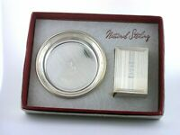 "National Sterling Silver Matchbox Cover ""B"" Ashtray Set AMAZING CONDITION AS128"