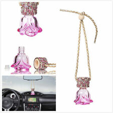 Car Bling Crystal Ornament Rearview Mirror Hanging Pink Diamond Rose Decoration