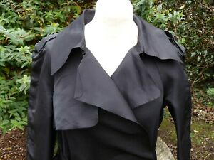 LANVIN COAT RUNWAY BLACK BELTED TRENCH COAT STYLE WRAP FRONT Size 42 UK 12 VGC