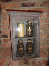 Wood Cabinet Gray/Blue Glass Door Shabby & Chic Rustic Cottage Chic Shelve.