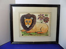 Vintage 1968 L.Toro Lion Original Art Signed By Artist Watercolor Mixed Media